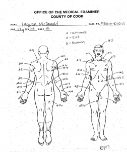 Autopsy drawing of Laquan McDonald