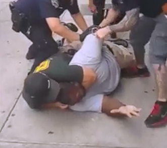 Eric Garner being choked to death by NYPD officer Daniel Pantaleo in 2014. Pantaleo was not indicted.