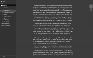 This is the dark theme. The Write! cloud panel is at left, the text Minimap at right.