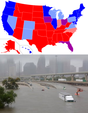 Top: blue and red states, Wikipedia. Bottom: Houston flooding, Richard Carson/Reuters.