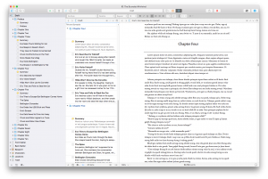 Scrivener 3 view showing navigation panel, outline and editor. Image: Literature & Latte.