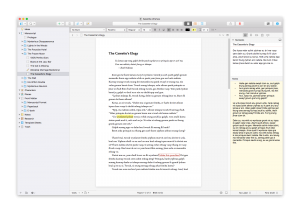 Scrivener 3's 2-binder-page-view, with navigation panel, editor, synopsis and notes. Image: Literature & Latte.