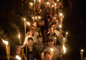 "Chanting ""White lives matter!"" ""You will not replace us!"" and ""Jews will not replace us!"" several hundred white nationalists and white supremacists marched in Charlottesville, VA in August 2017. Photo: Washington Post."