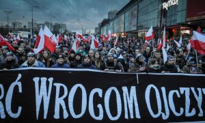 Polish nationalists march in November 2017. Photograph: Jaap Arriens/NurPhoto via Getty Images.