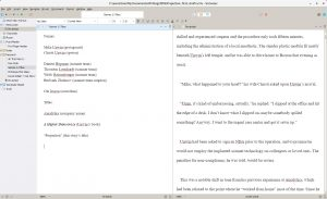 Still the best: Scrivener 3 Windows beta running on Linux via Wine.